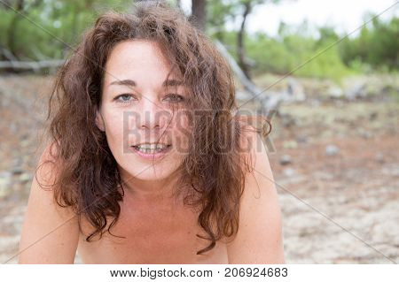 Beautiful Sexy Brunette Girl Posing Naked On The Beach