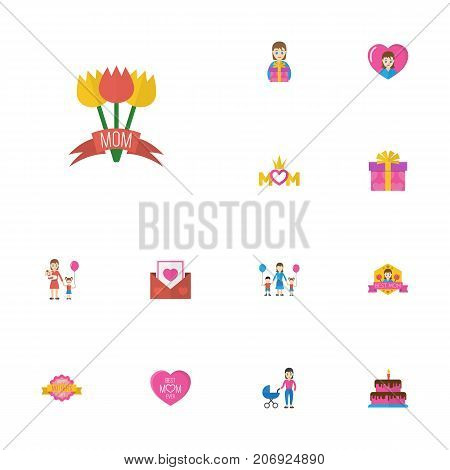 Happy Mother's Day Flat Icon Layout Design With Children, Emotion And Pastry Symbols