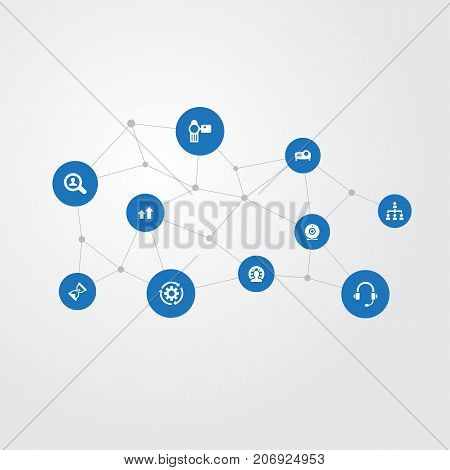 Elements Business , Sand Watch , Magnifier Synonyms Multimedia, Hierarchy And Magnifier.  Vector Illustration Set Of Simple Training Icons.