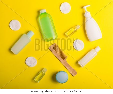 Cosmetics On A Yellow Background