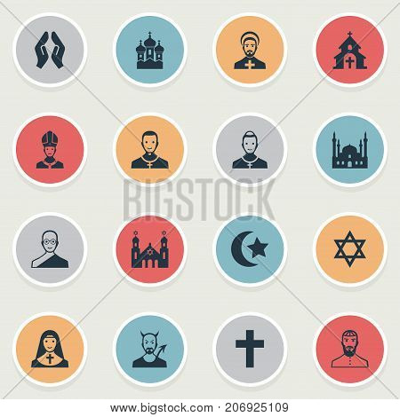 Elements Crucifix, Devil, David Star And Other Synonyms Holy, Parish And Buddhist.  Vector Illustration Set Of Simple Religion Icons.