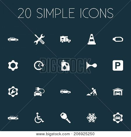 Elements Fuel, Handicapped, Automobile Synonyms Lock, Oil And Antifreeze.  Vector Illustration Set Of Simple Auto Icons.