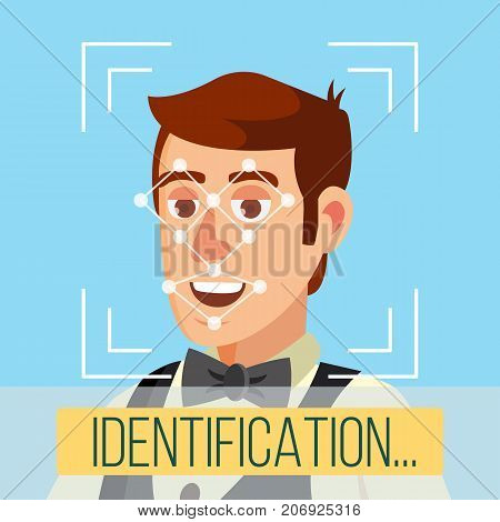 Face Recognition, Mobile Identification Vector. Electronic Verification. Facial Recognition System Concept. Secure Authentication Illustration