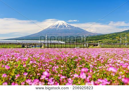 Shinkansen And Car Run Through Mt. Fuji