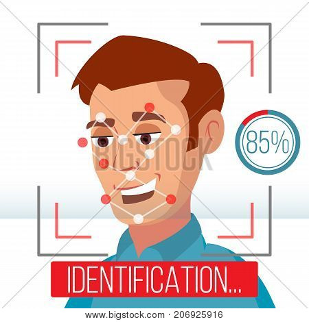 Smartphone Scan Person Face Vector. Electronic Identity Verification. Smartphone Biometric Scan System. Illustration