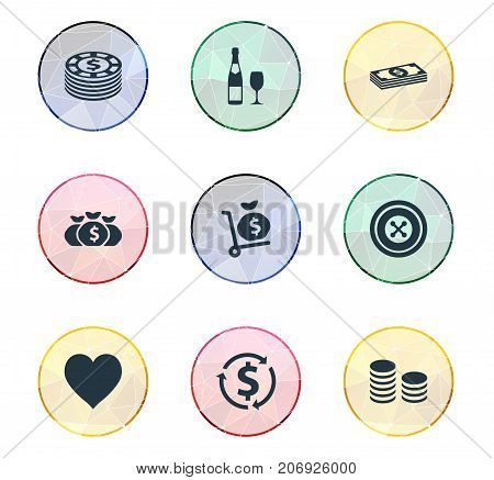 Elements Money Sack, Core, Bet And Other Synonyms Coin, Income And Champagne.  Vector Illustration Set Of Simple Gambling Icons.