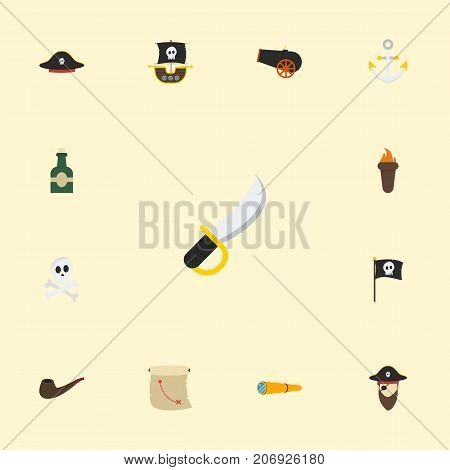 Flat Icons Corsair, Armature, Vessel And Other Vector Elements