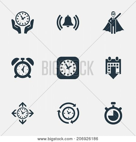 Elements Clock, Direction, Date Block And Other Synonyms Reminder, Bell And Compatibility.  Vector Illustration Set Of Simple Management Icons.