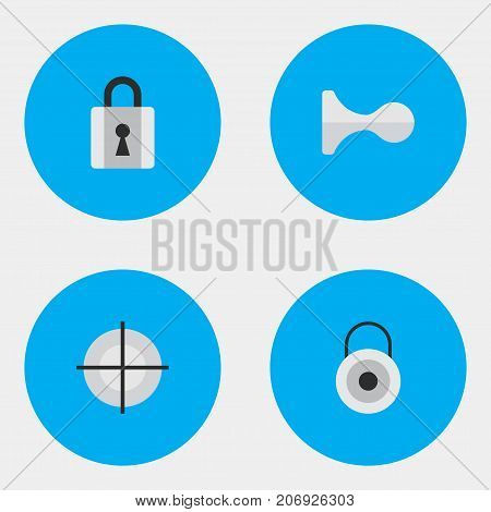 Elements Closed, Lock, Hunting And Other Synonyms Deer, Sniper And Close.  Vector Illustration Set Of Simple Offense Icons.