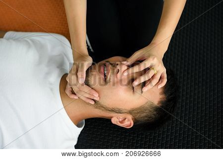 Female Hands Hold Nose And Open Mouth (cpr)