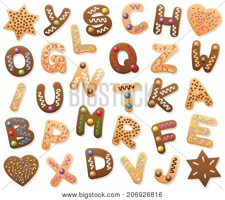 Christmas cookies ABC - loosely arranged. Find all letters of the alphabet, or bring the mixed up letters in the right order from A to Z. Educational game fun for kids of all ages.