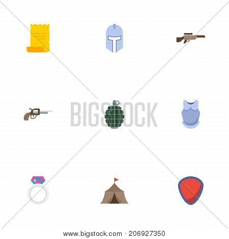 Flat Icons Tent, Shotgun, Bulletproof And Other Vector Elements