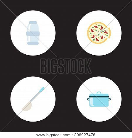 Flat Icons Pepperoni, Soup Spoon, Casserole And Other Vector Elements