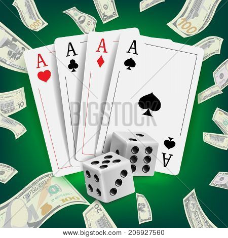 Casino Poker Design Vector. Poker Cards, Playing Gambling Cards. Online Casino Lucky Background Concept. Fortune Background Illustration