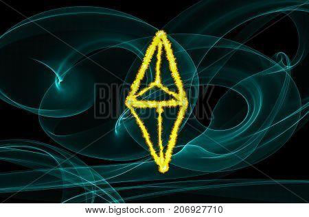 Ethereum sign over black background. Light painting