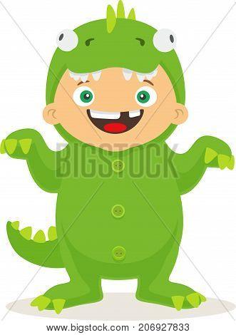 Halloween suit for kid. Vector cartoon little boy wearing dragon funny suit.