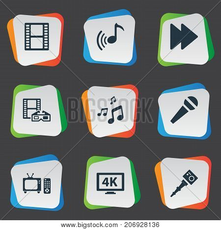Elements Mike, Tv, Spectacles And Other Synonyms Karaoke, Rewind And Crotchets.  Vector Illustration Set Of Simple Media Icons.