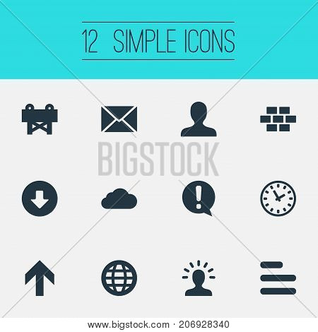 Elements Creativity, Important, Upload And Other Synonyms Upload, Creativie And Up.  Vector Illustration Set Of Simple Design Icons.