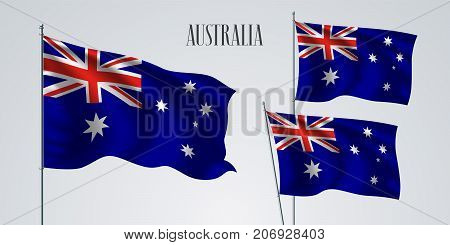 Australia waving flag set of vector illustration. Red blue white stripes and stars of Australian wavy realistic flag as a patriotic symbol