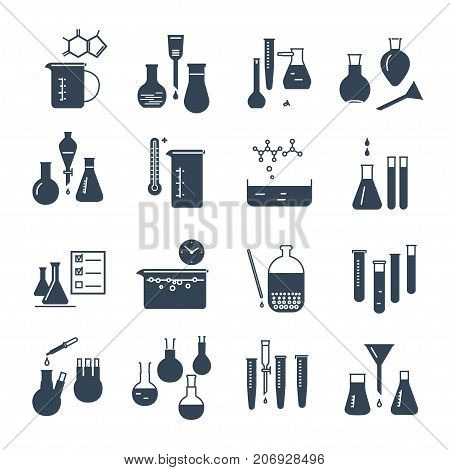set of black icons chemical laboratory equipment and flask