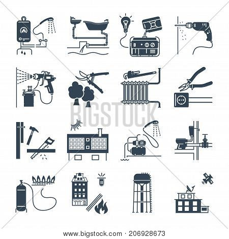 set of black icons public utility electricity gas water heating sewer system