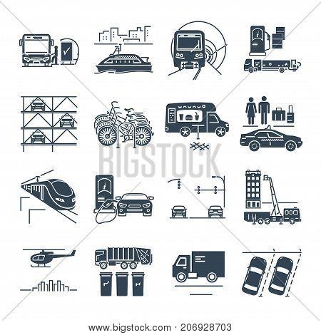 set of black icons municipal city transport public utility