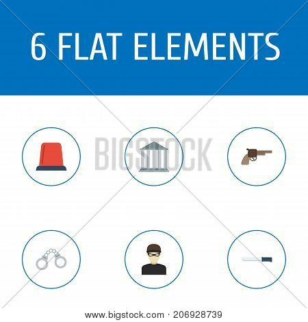 Flat Icons Manacles, Signal, Revolver And Other Vector Elements