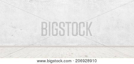 Vintage room interior with white concrete wall and wood floor background. Wide panorama image