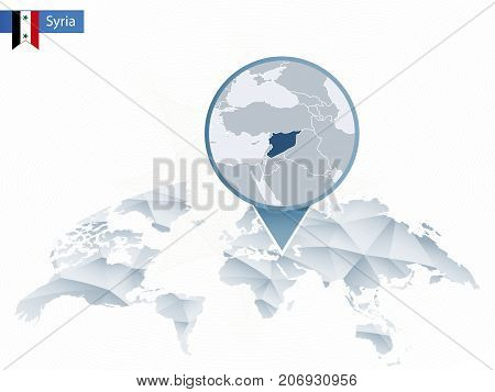 Abstract Rounded World Map With Pinned Detailed Syria Map.