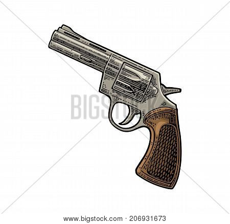 Revolver with short barrel and bullets. Vector color engraving vintage illustrations. Isolated on white background. For tattoo, web, shooting club and label