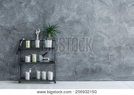 Rack With Handyman's Supplies