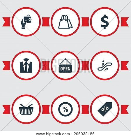 Elements Paper Bag, Grocery, Sale And Other Synonyms Man, Dollar And Escalator.  Vector Illustration Set Of Simple Purchase Icons.