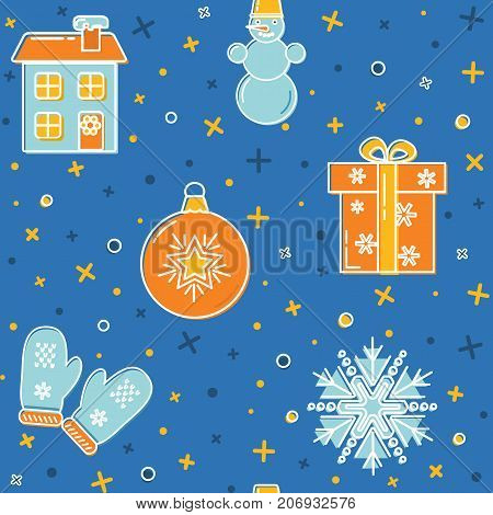 Christmas seamless pattern with holiday symbols. Colored snowman, snowflake, mittens, holiday house, gift box and decorative ball in thin line style. New Year wallpaper, decorative background.