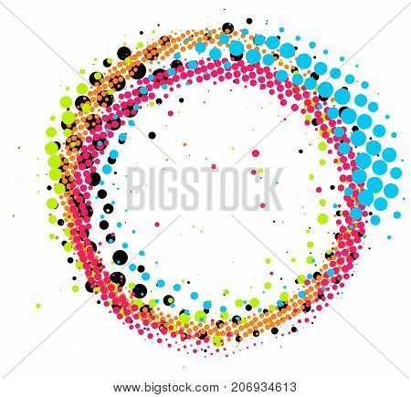 Abstract colorful pop-art halftone paintbrush swirl circle isolated on white background