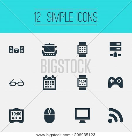 Elements Control Device, Oven, Network And Other Synonyms Spectacles, Oven And Cooking.  Vector Illustration Set Of Simple Web Icons.