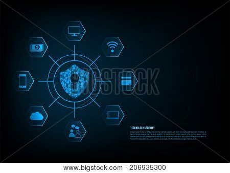 Internet security online concept: Padlock With Keyhole icon in . personal data security Illustrates cyber data security or information privacy idea. Blue abstract hi speed internet technology.