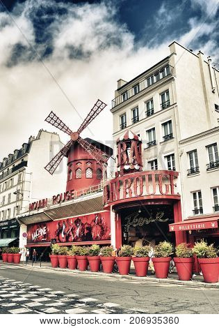 Paris France - September 10 2017: Moulin Rouge cabaret Paris - hdr view from the Boulevard de Clichy.