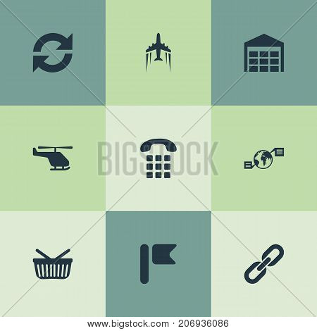 Elements Relation, Storage, Global Trade And Other Synonyms Arrow, Parcel And Air.  Vector Illustration Set Of Simple Engineering Icons.