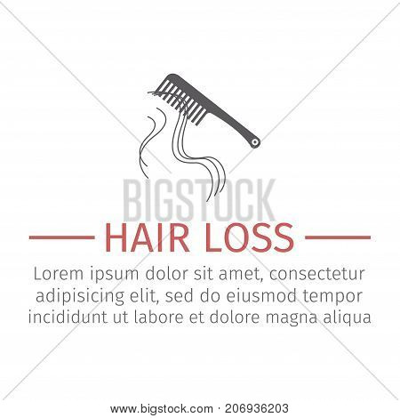 Hair Loss. Vector sign for web graphic.