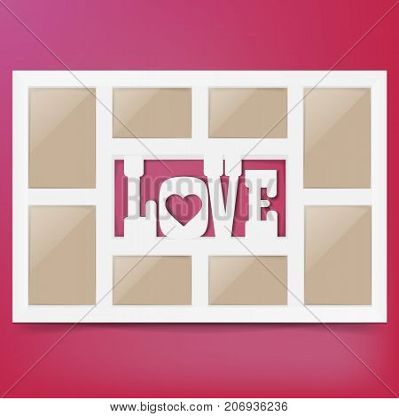 Multi frame set with empty space.Love photo frame. Photo frame collage. Multi frame for several photos. isolated on background. Vector illustration.