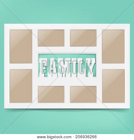 Multi frame set with empty space. Family photo frame. Photo frame collage. Multi frame for several photos. isolated on background. Vector illustration. Eps 10.