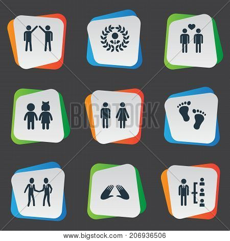 Elements Companion, Children, Colleague And Other Synonyms Communication, Gender And Order.  Vector Illustration Set Of Simple Buddies Icons.