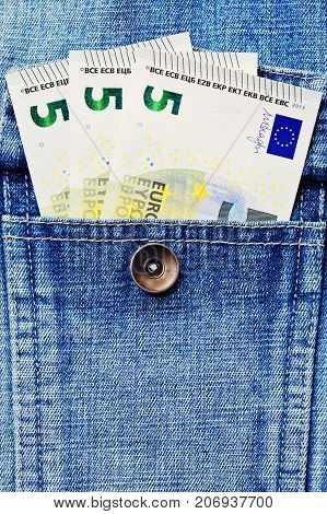 Some Euro Money Notes In Jeans Jacket Pocket