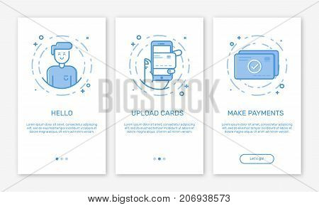 Vector Illustration of onboarding app screens and web concept online mobile payment or earn application for apps in line style. Blue interface UX, UI GUI screen template for smart phone or web banners