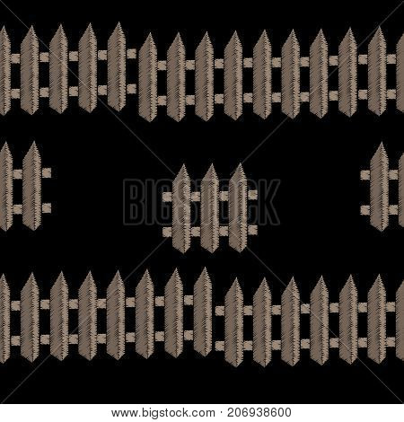 Embroidery stitches imitation seamless pattern with fence. Vector embroidery isolated fence on black background. Embroidery background.