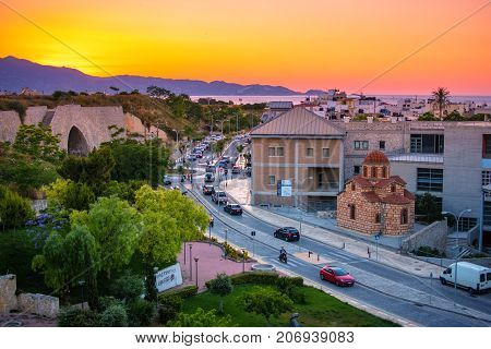 View of Art and Culture Center of Heraklion from venetian walls at sunset, Crete, Greece.