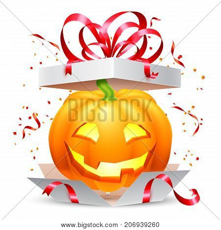 Smiling halloween pumpkin inside opened surprise gift box