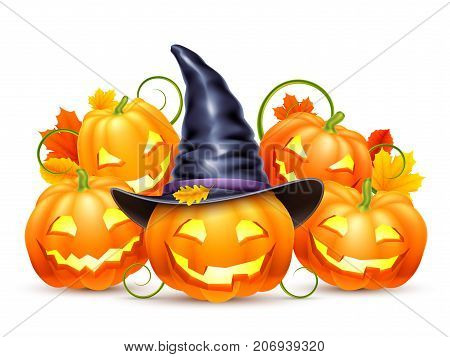 Halloween pumpkins with witch hat and autumn leaves isolated on white background