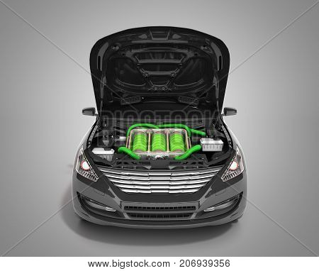 Concept Of Battery Capacity Of An Electric Car Batteries Under The Hood 3D Render On Grey