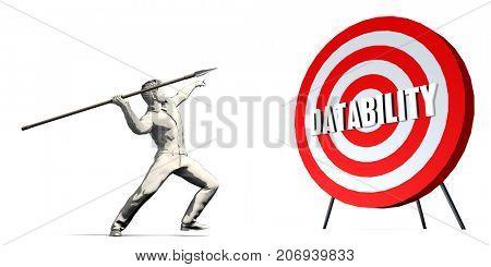 Aiming For Datability with Bullseye Target on White 3D Illustration Render